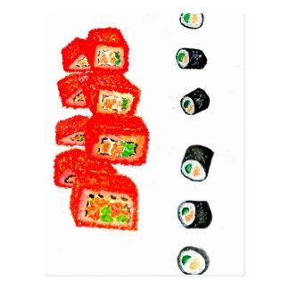 Sushi Set Watercolor3 Postcard