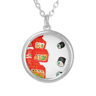 Sushi Set Watercolor3 Silver Plated Necklace