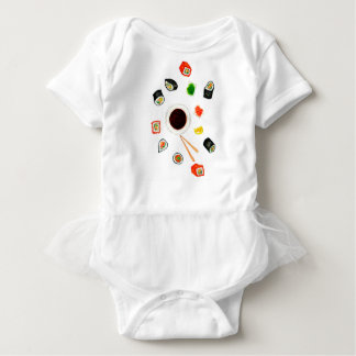Sushi Set Watercolor Baby Bodysuit