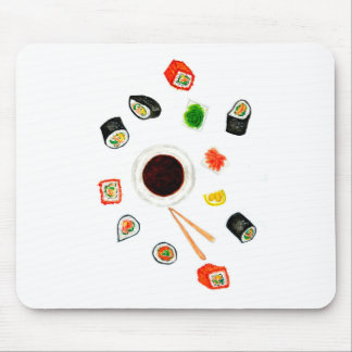 Sushi Set Watercolor Mouse Pad