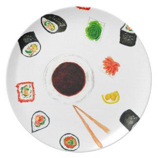 Sushi Set Watercolor Plate