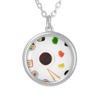 Sushi Set Watercolor Silver Plated Necklace
