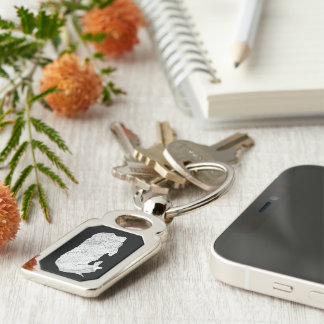 Sushi Sleeping keychain Silver-Colored Rectangle Key Ring