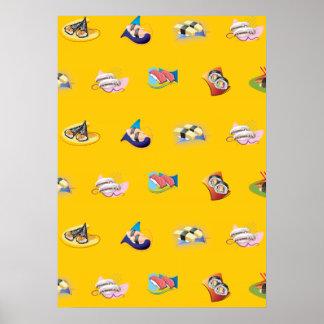 sushi yellow print