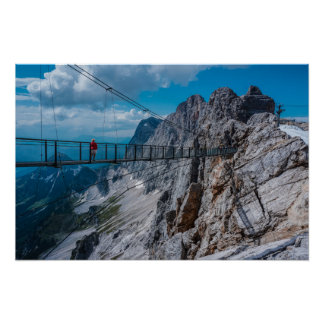 Suspension bridge in the mountains poster