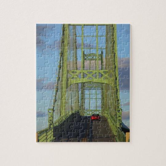 Suspension bridge onto Little Deer Isle Jigsaw Puzzle