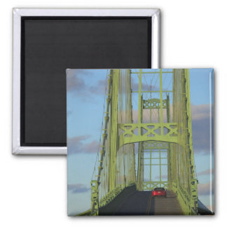 Suspension bridge onto Little Deer Isle Square Magnet