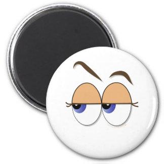 Suspicious Eyes Sideways Glance Eyeballs 6 Cm Round Magnet