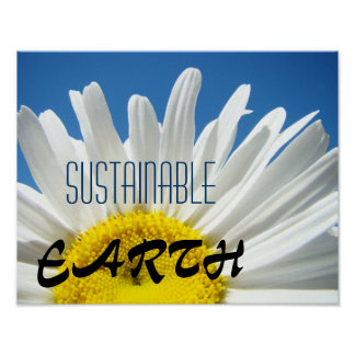 Sustainable EARTH art prints Daisy Blue Sky Poster
