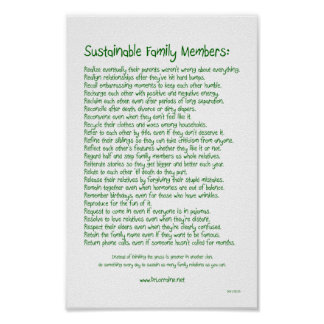 Sustainable Family Members Poster
