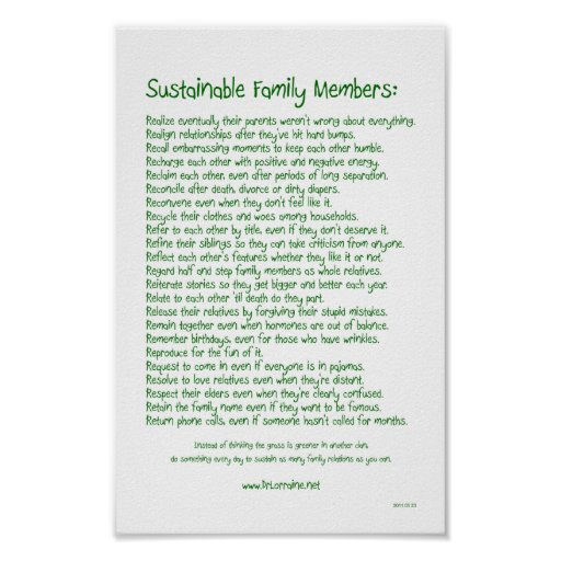 Sustainable Family Members Posters