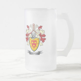 Sutherland Family Crest Coat of Arms Frosted Glass Beer Mug
