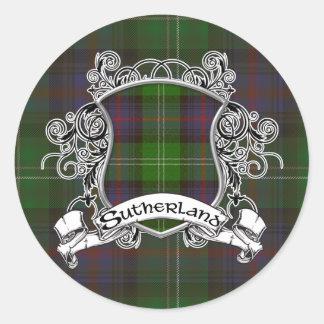 Sutherland Tartan Shield Stickers