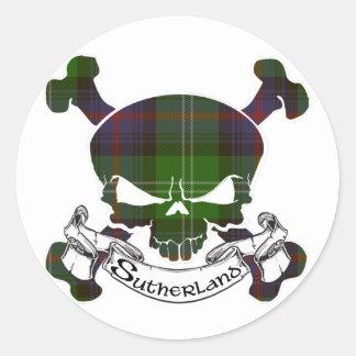 Sutherland Tartan Skull Round Sticker