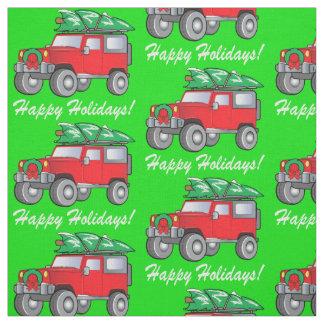 SUV Hauling Freshly-Cut Christmas Tree Fabric