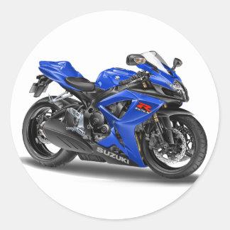 Suzuki GSX-R600 Blue Bike Classic Round Sticker