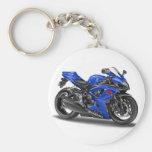 Suzuki GSX-R600 Blue Bike Basic Round Button Key Ring
