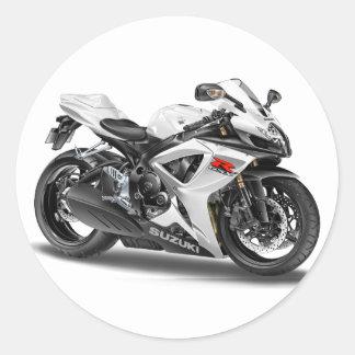 Suzuki GSX-R600m White Bike Classic Round Sticker