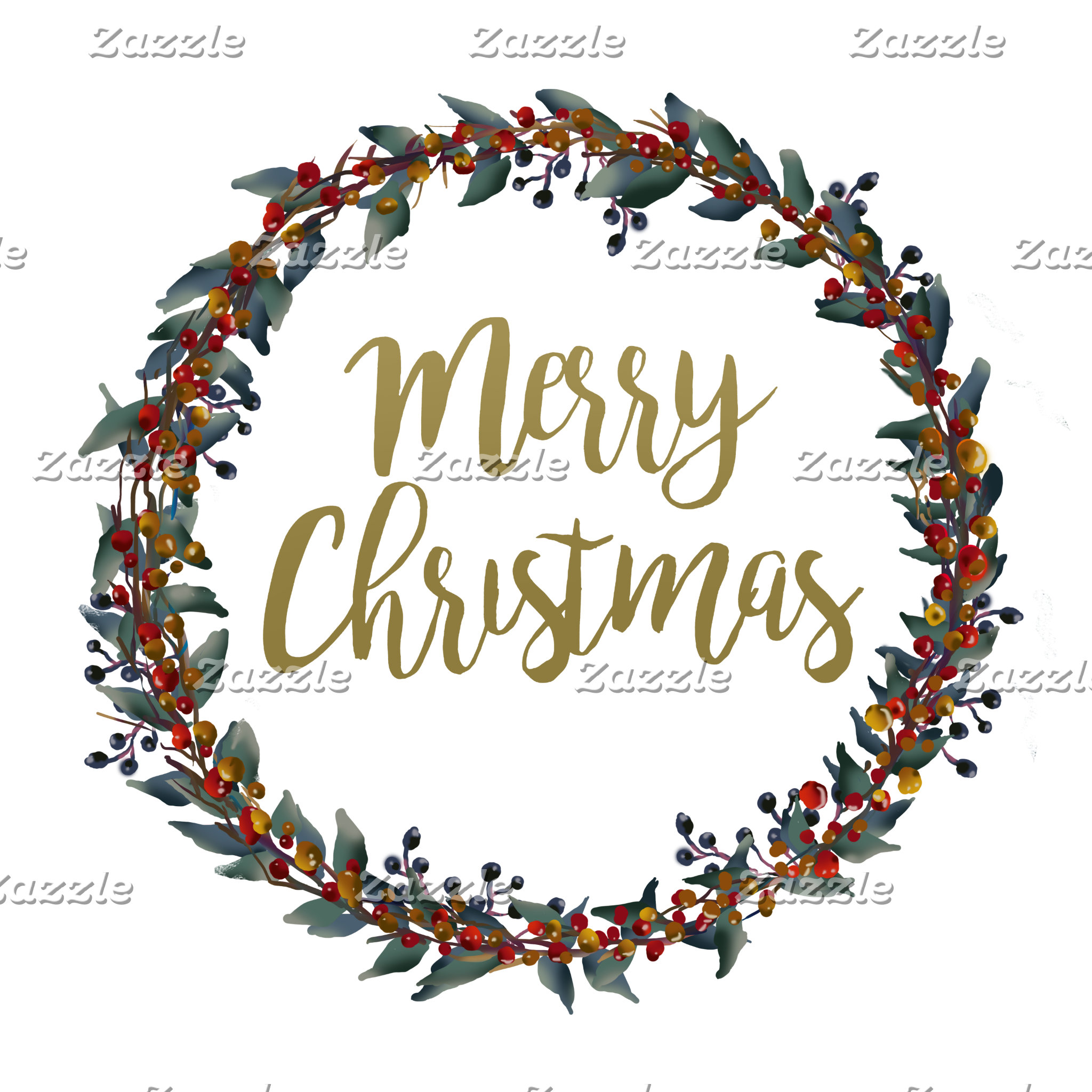 Watercolor wreath - merry christmas - branches