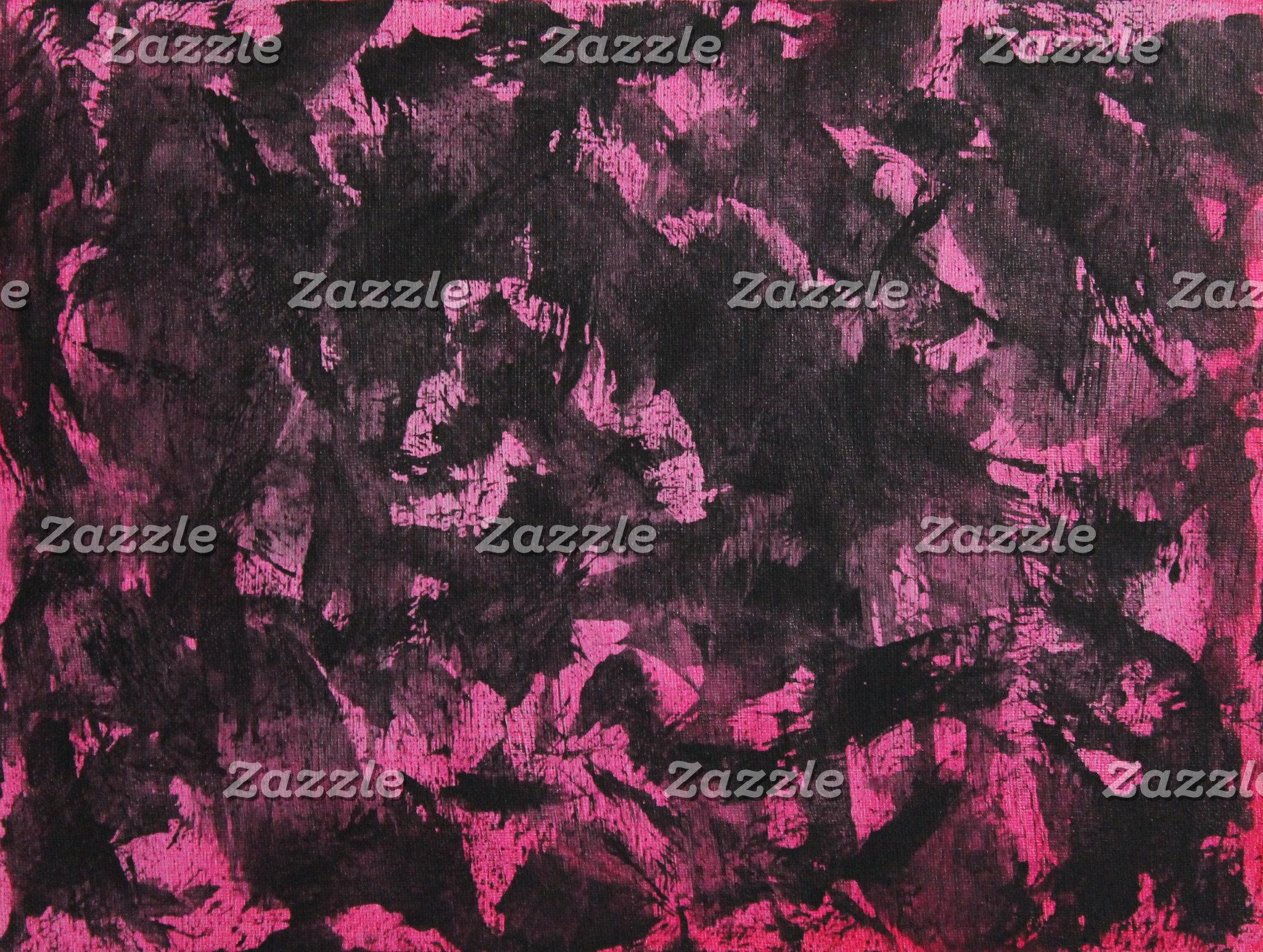 Black Ink on Pink Background