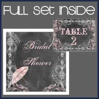 Chalkboard Floral Antique Pink Wedding Collection
