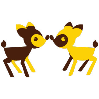 cute little deers touching noses