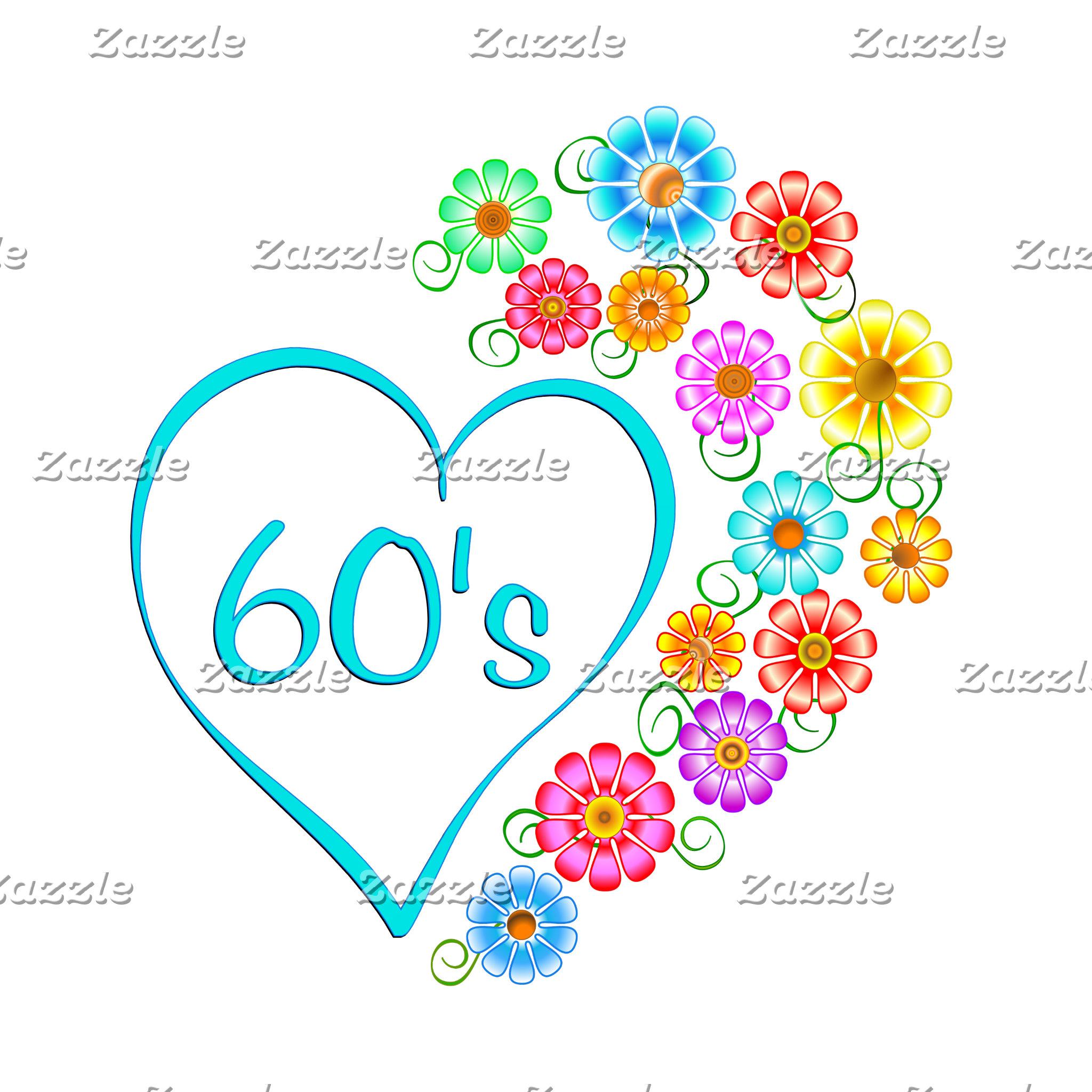 60s Heart Flowers
