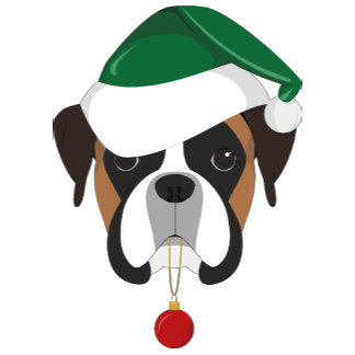 Boxer Dog Santa Hat Christmas Illustration