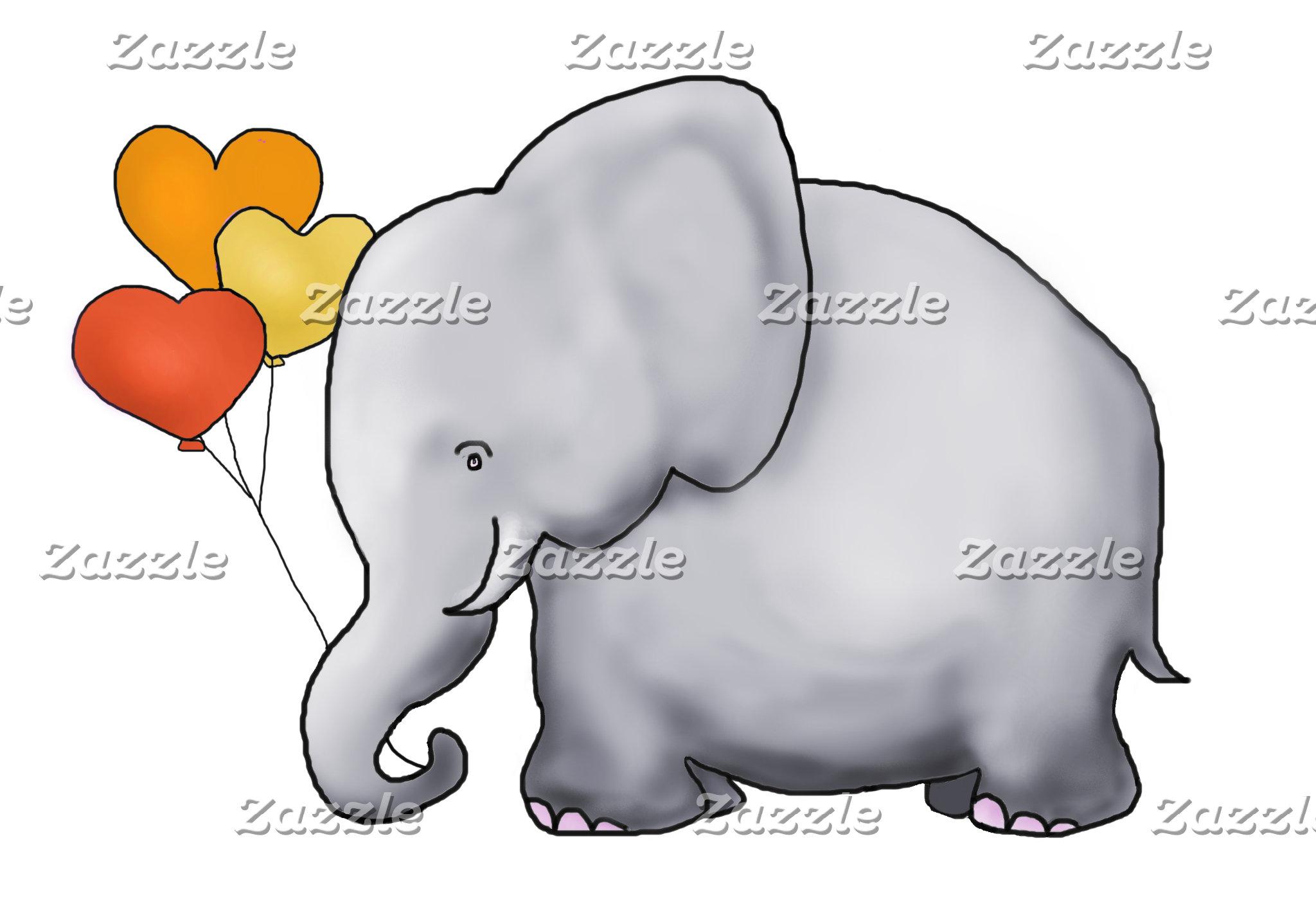 Heart Balloon Elephant - Yellow Baby Shower