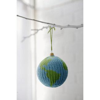 knit globe ornament photography