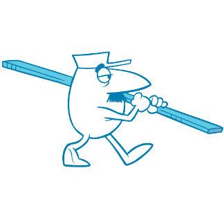 Blue Cartoon Inspector with Plank