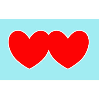 Two Red Hearts with Blue Background