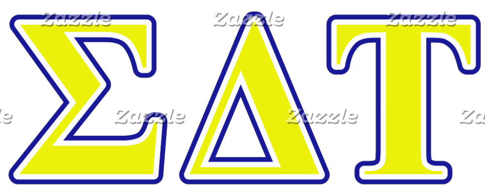 Sigma Delta Tau Yellow and White Letters