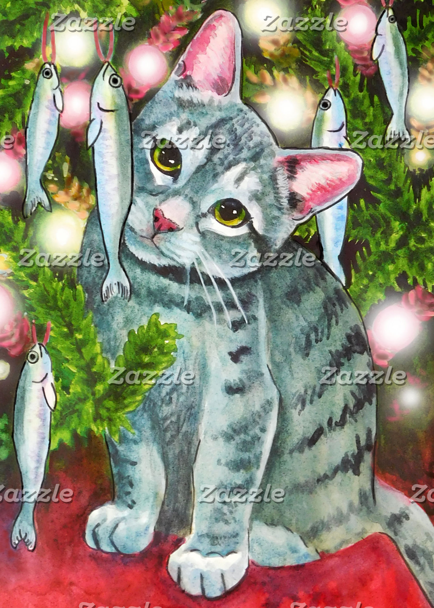 Christmas Cat with Fish