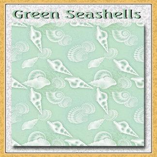 Seafoam Green Seashells Pattern