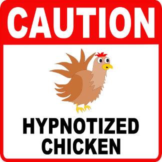 Caution Hypnotized Chicken Black Lettering