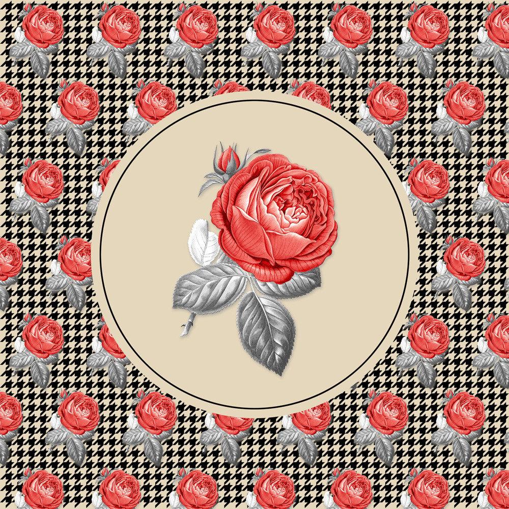 Vintage Roses collage and pied-de-poule pattern
