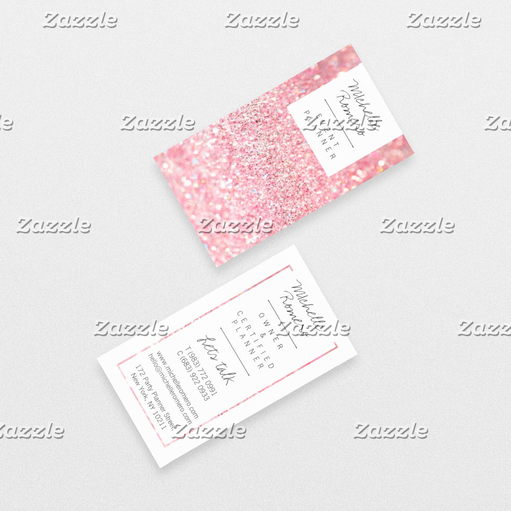 Modern girly faux pink glitter bokeh event planner