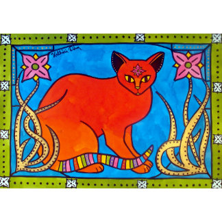 Cat Art - Indian Cat With Lilies