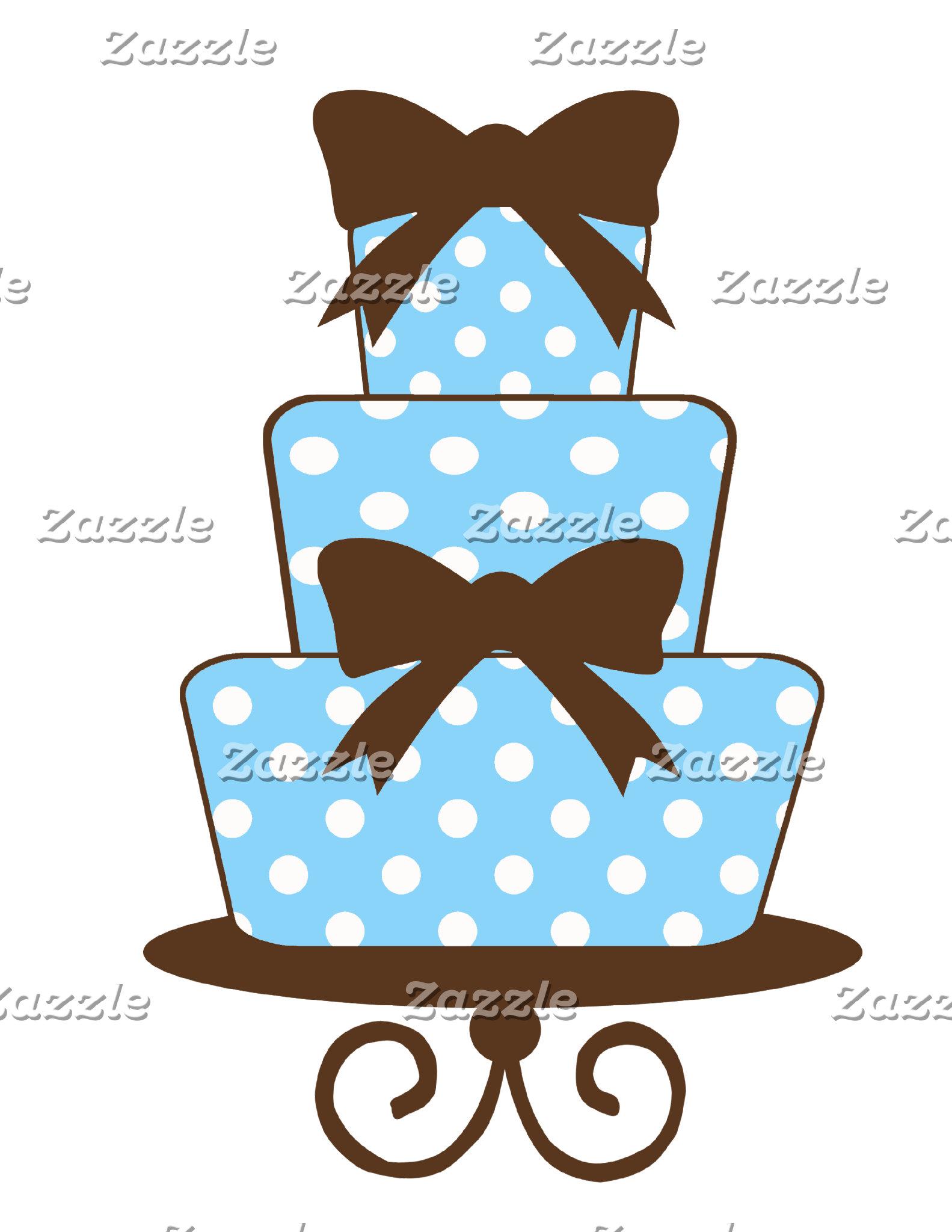 Blue and Brown Polka Dot Birthday