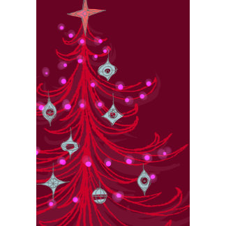 red christmas tree with ornaments