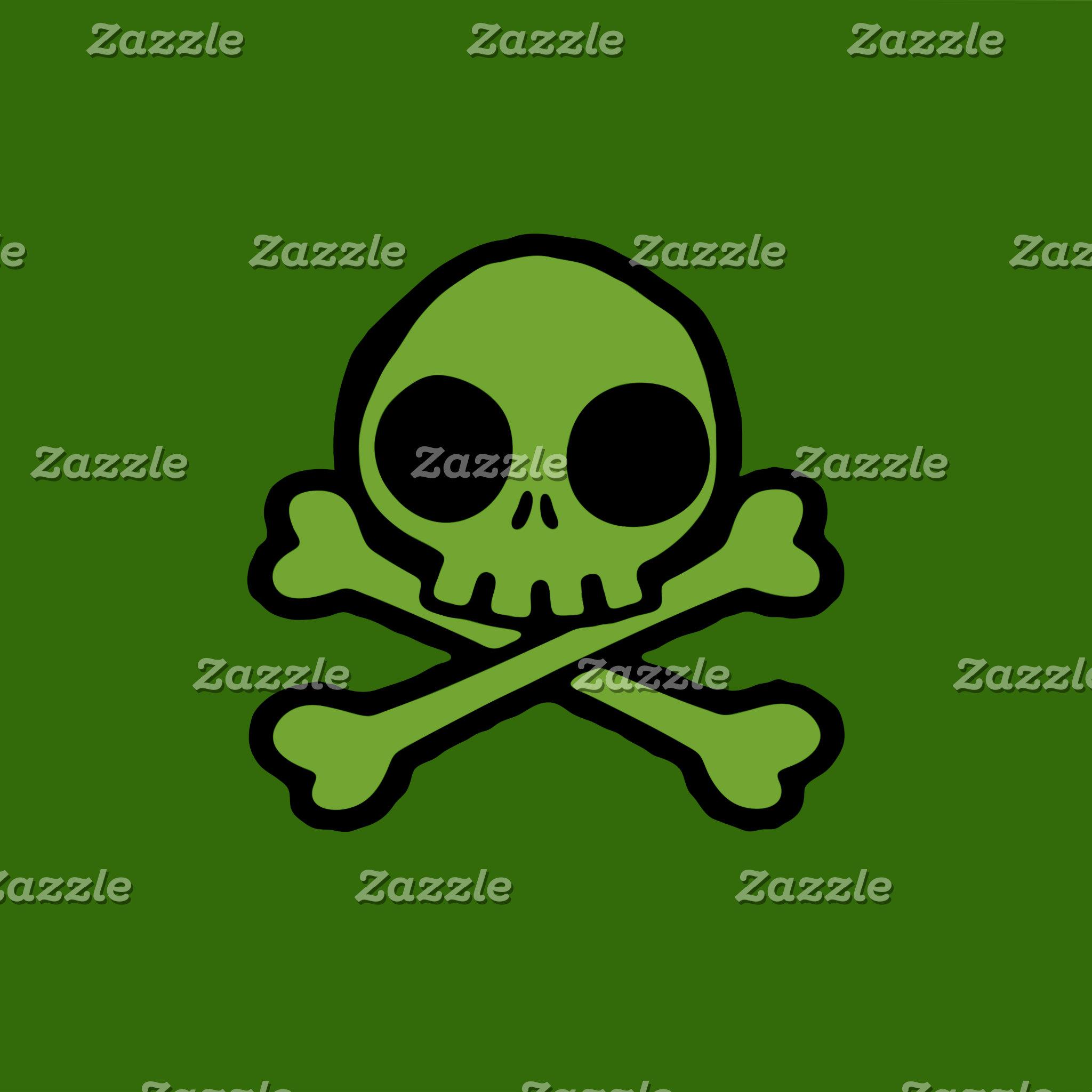 Cute Green Skull And Crossbones