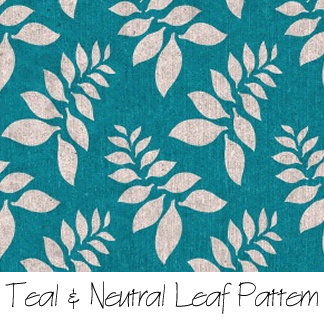 Teal & Neutral Leaf Pattern