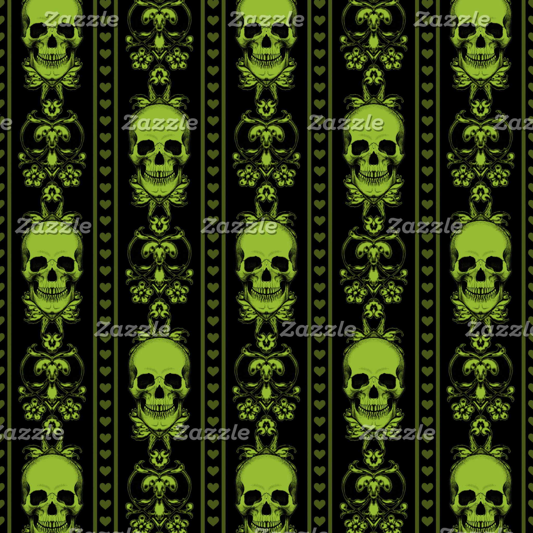Baroque Skull Stripe Pattern Green Black