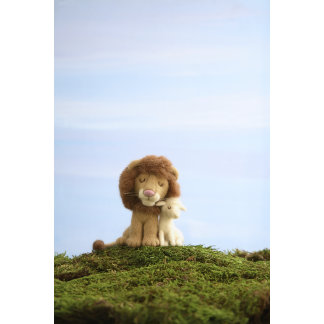 """Felt Lion and Lamb Photo Poster Print"""