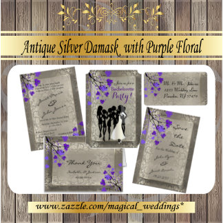 Antique Silver Damask and Purple Flowers