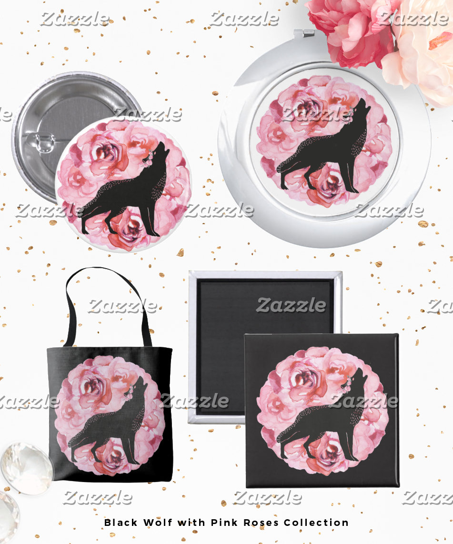 Black Wolf Pink Roses