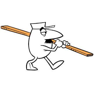 Cartoon Inspector Shouldering Plank
