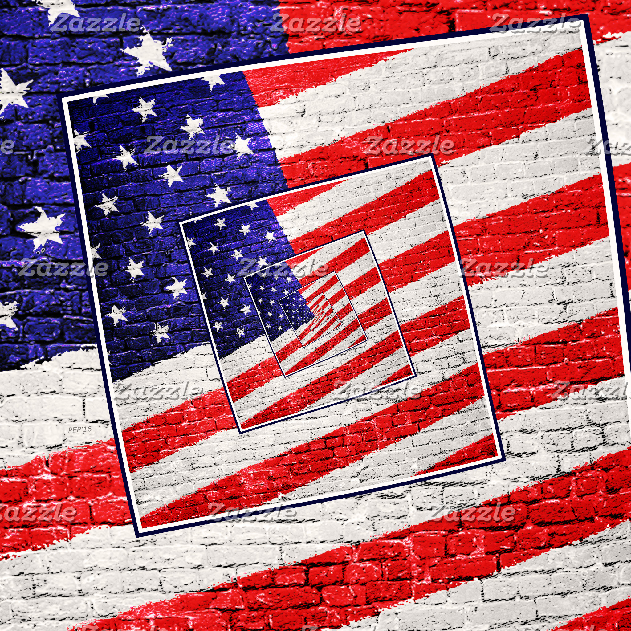 Patriotic American Flag Abstract