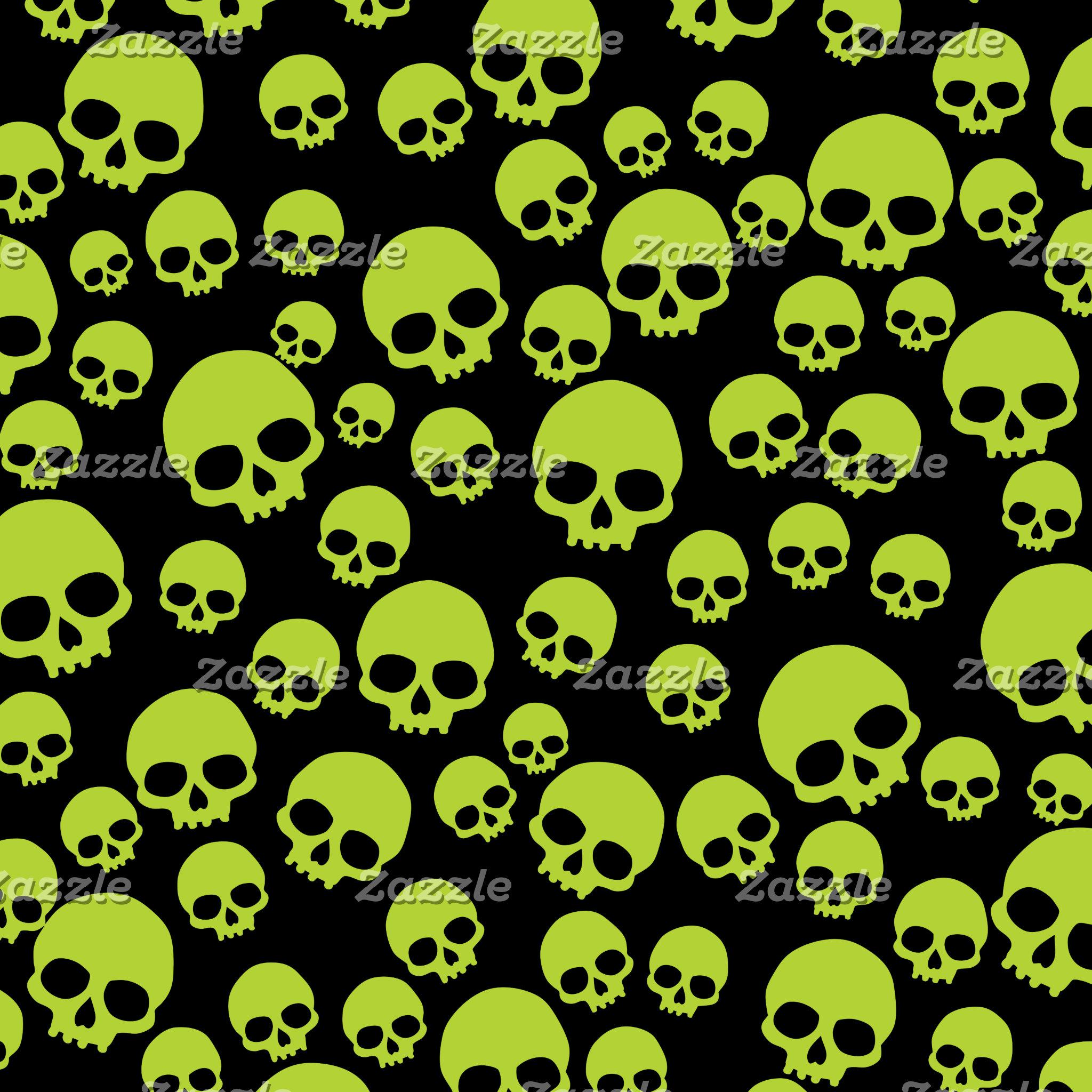 Random Green Skulls Pattern